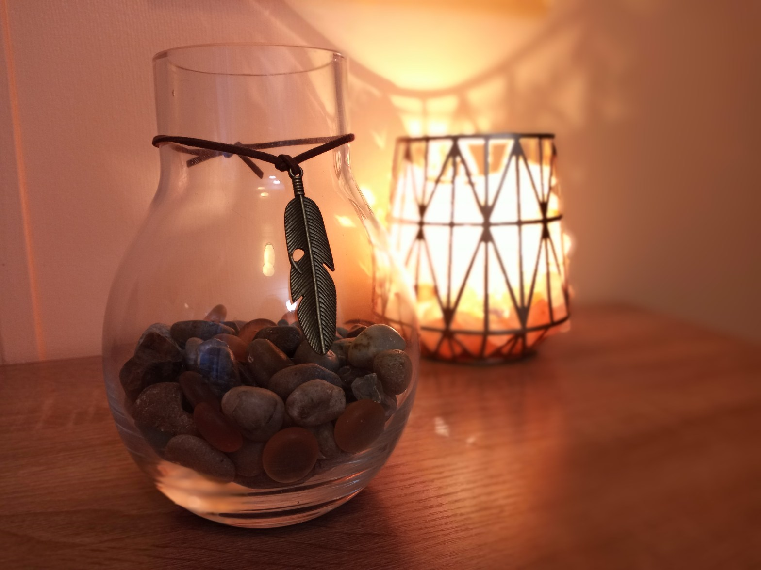Jar filled with decorative stones