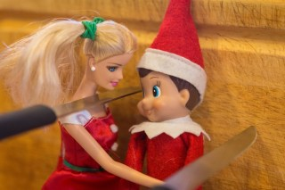 Elf on the Shelf, barbie sooth elf after knife came a little close