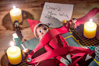 Elf on the shelf Gullivers Travels tied down by lego