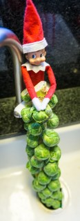 Elf on the shelf puts brussel sprouts down the garbage disposal