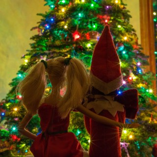 Elf and Barbie by the Christmas Tree, starburst Christmas lights