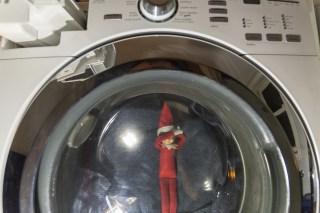 Elf on the shelf in a washing machine