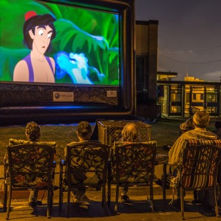 Aladdin at a Street Party outdoor movies event with FunFlicks