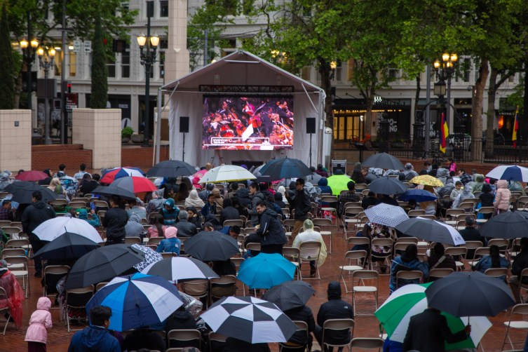 LED video screen in the rain in Portland, OR Outdoors during the day. Live stream of a concert.