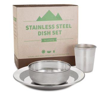 compact stainless steel dish set