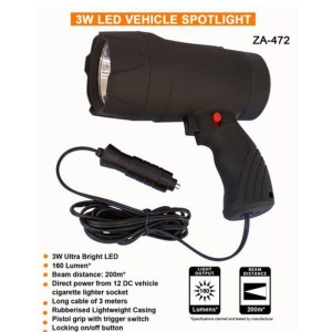 ZARTEK 3W 160 LUMEN LED VEHICLE SPOTLIGHT | INCLUDES DETACHABLE RED LENS FOR ANIMAL VIEWING