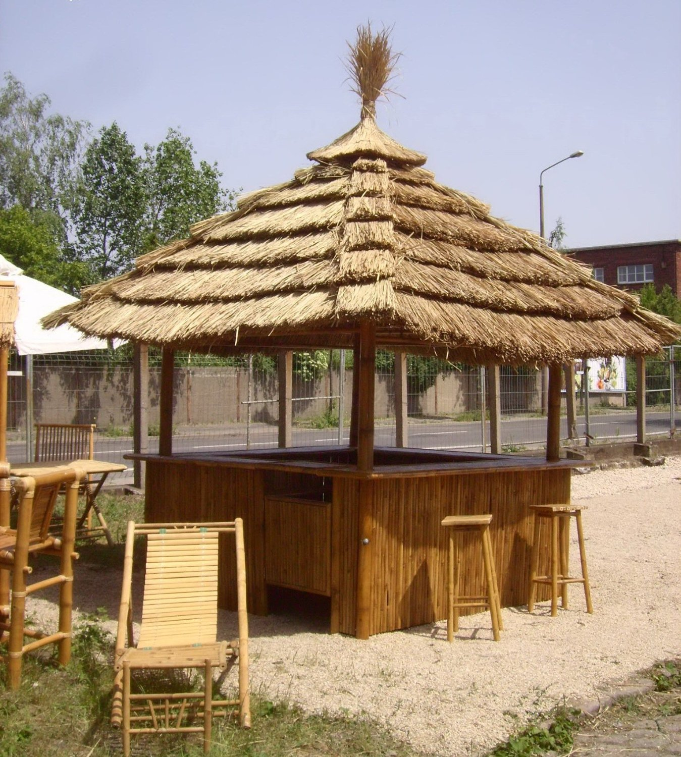 Tiki Hut Structures and Furniture Pieces for Homes ... on Backyard Bar With Roof id=74822