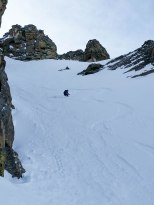 Dane, making some powder turns on the upper pitch.