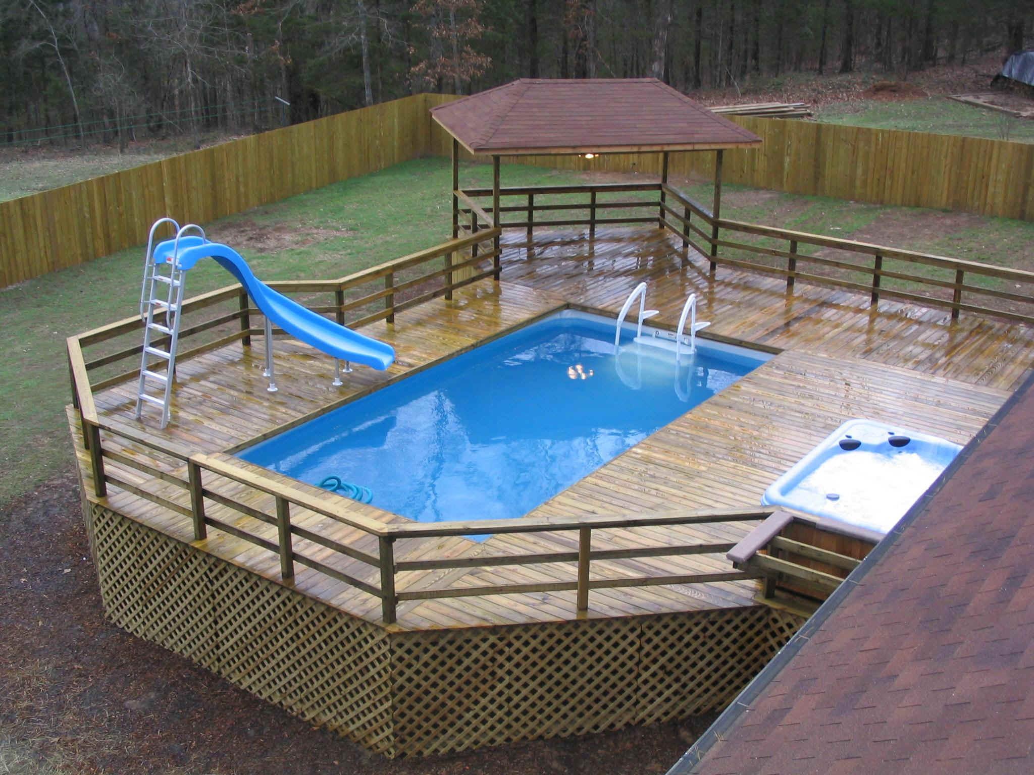 42 Above Ground Pools with Decks - Tips, Ideas & Design ... on Patio Ideas Around Pool id=80547