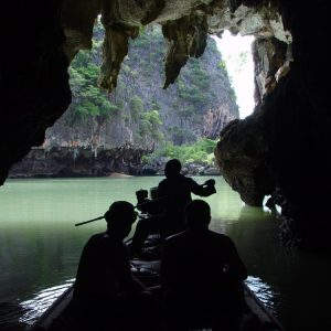 Longtail boat in limestone caves in Thailand