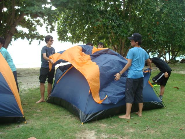 erecting a tent