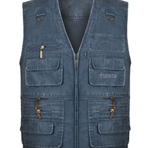 Gihuo Men's Casual Outdoor Leisure Lightweight Pockets Fishing Photo Journalist Denim Vest Plus Size
