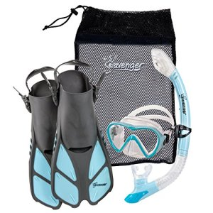 Seavenger Diving Set with Silicone Mask, Trek Fins / Flippers, Dry Top Snorkel and Quick Dry Gear Bag