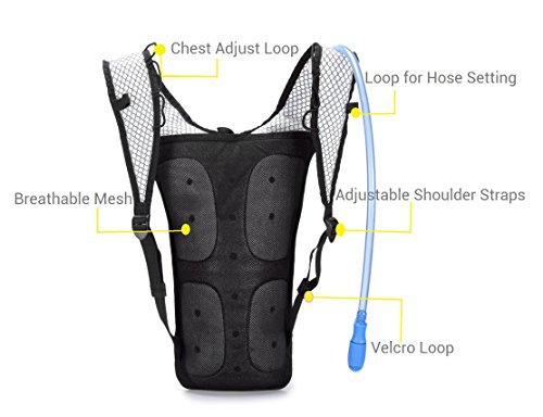 Mubasel Gear Hydration Backpack Pack With 2L BPA FREE Bladder - Lightweight Pack Keeps Liquid Cool Up to 4 Hours - Great Storage Compartments - Outdoor Sports Gear for Running Hiking Cycling Skiing Mubasel Gear Hydration Backpack Pack With 2L BPA FREE Bladder - Lightweight Pack Keeps Liquid Cool Up to 4 Hours - Great Storage Compartments - Outdoor Sports Gear for Running Hiking Cycling Skiing.   1.PERFECT SET - Included 70-Ounce (2 Liter) FDA APPROVED nourishment review hydration bladder.  2.UPER LIGHT - Weight 0.8 lb with 2L bladder in high caliber of the workmanship & Nylon material, it unquestionably won¡¯t trouble you when sporting.  3.GOOD VOLUME - Includes a capacity compartments (16.5 * 9.85 inch) that will fit your garments, keys, totes, telephones and so on. For considerably more stockpiling, the front stretch work pockets enables you to pack much more on your hike.