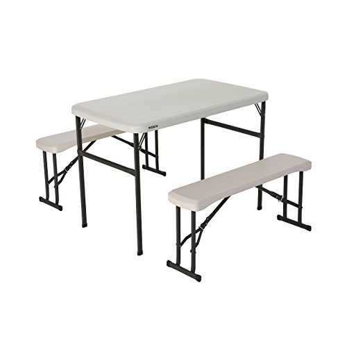 Lifetime Portable Folding Camping Picnic Table and Bench Set, Almond