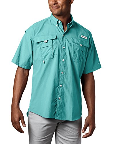 Columbia Men's PFG Bahama II Short Sleeve Breathable Fishing Shirt SUN PROTECTION: Columbia's mark Omni-Shade UPF 30 texture squares UVA and UBA beam to help forestall sunburn and longter skin harm amid extend periods of time in the sun.  HANDY FEATURES: This men's Columbia PFG Bahama short sleeve angling shirt highlights two helpful chest pockets with velcro conclusion for conveinent storing.  COMFORT & BREATHABILITY: This short sleeve angling shirt highlights shrouded vents at shoulders and 100% nylon brisk dry texture for extreme breathability and comfort.  RELAXED FIT: This men's Columbia PFG short sleeve shirt includes a casual, lightweight fit for most extreme solace amid angling activities
