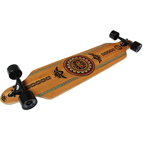 """RIMABLE Bamboo Drop Through Longboard (41 Inch, Polynesian) Bamboo longboard Deck:Drop Thourgh Style 9 Ply Maple/Bamboo Hybrid Laminate With Photo Heat Transfer Graphic:Polynesian  Trucks: 7"""" 180 Aluminum Drop Through Longboard Trucks,support the bamboo longboard stack more weight!  Wheels: 70x51mm PU Wheels Hardness 85A,suitable for the bamboo skateboard.  High-Speed Lubricant Bearing keep the bamboo longboard smooth.  Grip Tape:High Quality OS780 More Meticulous And Durable,Let your can relentless remain on the Bamboo Longboard"""