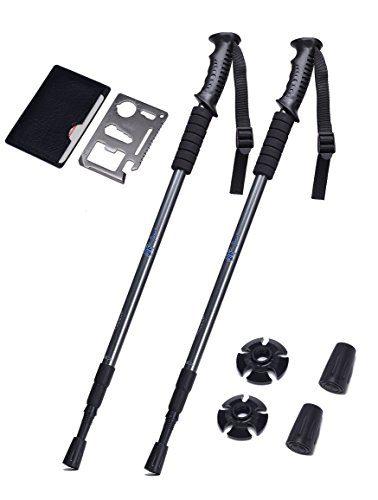 Adjustable Trekking Poles Set of 2 – Collapsible Walking Poles for Walking, Hiking, Camping, Snowshoeing