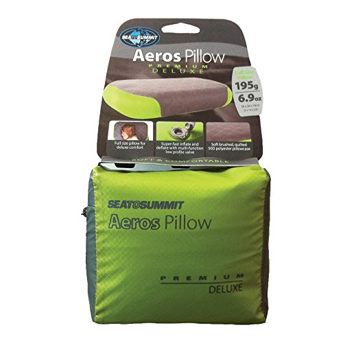 Sea to Summit Aeros Premium Deluxe Pillow Sea to Summit Aeros Premium Deluxe Pillow.   Soft 50D stitched polyester confront fabric  High quality TPU bladder  Multi-useful valve for simple expansion and deflation  Length: 23.5 in/59.6 cm. Width: 16 in/40.6 cm. Stature/Depth: 5.5 in/13.9 cm  Weight: 6.9 oz/195g. Stuffed Size: 4.7 x 3.9 x 2 in/12 x 9.9 in x 5 cm