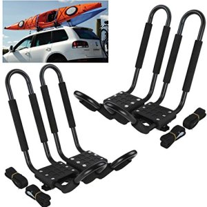 Car Rack & Carriers© Universal 2 Pairs J- shape Rack HD Kayak Carrier Canoe Boat. Surf Ski Roof Top Mounted on Car SUV Crossbar