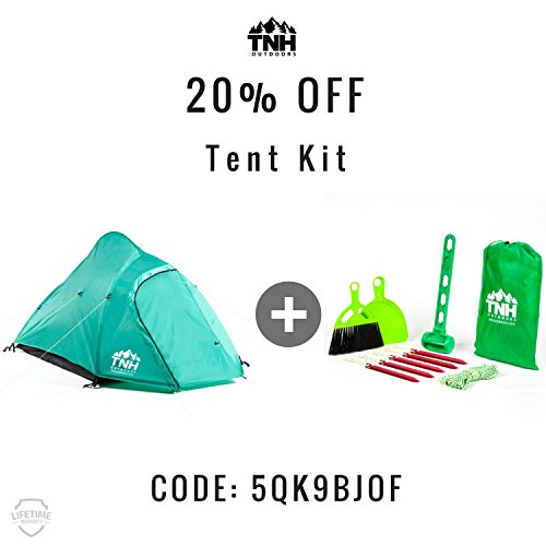 2 Person Camping & Backpacking Tent With Carry Bag WATERPROOF AND DURABLE MATERIAL - TNH Outdoors tent is made out of waterproof,durable, breathable and earth amicable material, giving a home-like sweet inclination and making the spirit near nature.  SPACIOUS AND CONVENIENT - This lightweight 2-man tent was intended for solace, space, and accommodation. It is a spacious tent with a lot of room for you and a relative or companion. When you are done with your outing, you can basically put the tent segments once again into the conveying sack to effectively pack up and transport.  GREAT FOR ALL OCCASIONS - Get the most out of your tent amid the year! The aluminum posts and ventilation window enable you to use this tent for exercises in the spring and summer. Along these lines, regardless of whether you require a tent for voyaging, exploring, climbing, celebrations outside or whether you are taken off for an end of the week outdoors trip with family and companions, this is a perfect tent to accommodate your needs.