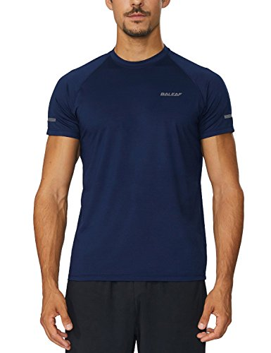 Baleaf Men's Quick Dry Short Sleeve T-Shirt Running Fitness Shirts Soft, snappy dry texture with predominant breathability and dampness management  Longer back fix offers additional coverage  Ergonomic creases permit more noteworthy scope of motion  Reflective tapes & logo for low-light visibility  Raglan sleeves