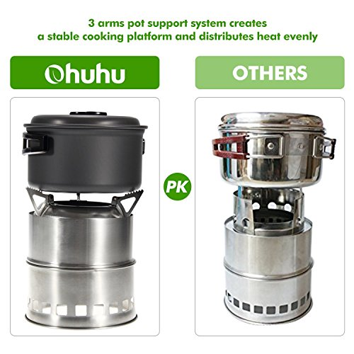 Ohuhu Camping Stove Stainless Steel Backpacking Stove Potable Wood Burning Stoves for Picnic BBQ Camp Hiking Ohuhu Camping Stove Stainless Steel Backpacking Stove Potable Wood Burning Stoves for Picnic BBQ Camp Hiking. 