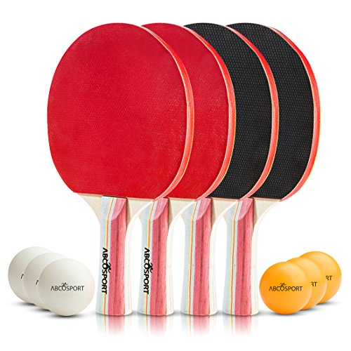 Table Tennis Ping Pong Set - Pack of 4 Premium Paddles/Rackets and 6 Table Tennis Balls - Soft Sponge Rubber