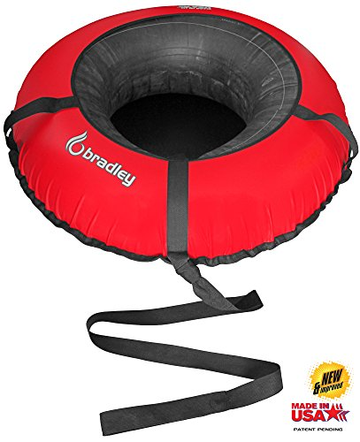 """Bradley Snow Tube Sled with 48"""" Cover Cover measures 48"""" flattened - add up to swelled width: 42""""  600 denier polyester canvas top  Includes hard core smooth mechanical vinyl base with RapidGlide against erosion innovation. 425lb pliable strength  2 sewn-in handles; patent pending sewn close behind circle and lash anchors tube and cover***Not planned for towing behind a mechanized vehicle  MADE IN USA"""