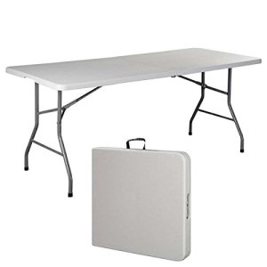 Swan Shop 6' Folding Table Portable Plastic Indoor Outdoor Picnic Party Dining Camp Tables,White,