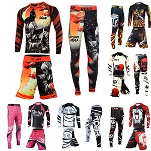 Rash Guard & BJJ Shorts Set Mens Women Fight Wear