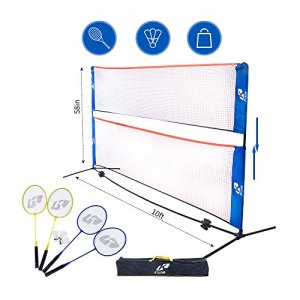 Kale Badminton Set for Adults and Kids with 10-Feet Net Stand