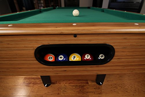 Billiard Table with Compact Design to Fit in Smaller Rooms 6.5' Space Saver Design Suits in Smaller Rooms  Leg Levelers for Perfectly Even Playing Floor  Automatic Ball Return- Shortly Reset Video games  Double-Sealed MDF Play-Mattress for Consistent Roll  Inexperienced Nylon Material for Basic Game Parlor Look