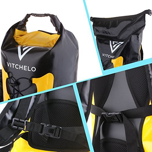 Dry Bag Backpack for Outdoor Water Sports Kayaking Camping  WHILE OTHER DRY BAGS WATERPROOF leak, fail to guard your stuff, are too stiff or simply uncomfortable to put on, the VITCHELO 30L moist dry bag backpack will safeguard your necessities on water sports activities, kayaking, mountaineering, tenting or touring adventures. Made from vinyl tarpaulin with a sturdy welded seam, its strong roll-prime closure system supplies secured watertight seal and holds longer than most manufacturers. This implies larger safety for your electronics and belongings.