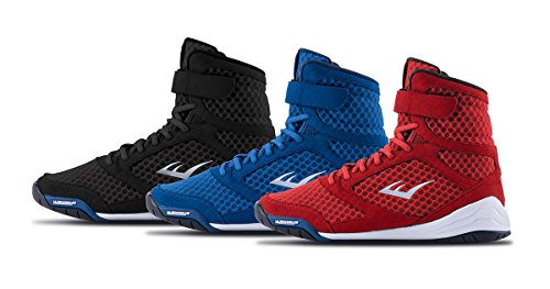 Everlast New Elite High Top Boxing Shoes - Black, Blue, Red