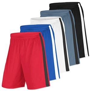 Men's Premium Active Athletic Performance Basketball Shorts with Pockets - 5 Pack