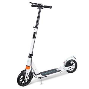 "Macwheel Foldable Aluminum Height Adjustable Kick Scooter, Disc Brake | Rear Fender Brake | Dual Suspension | 8"" PU Wheels 
