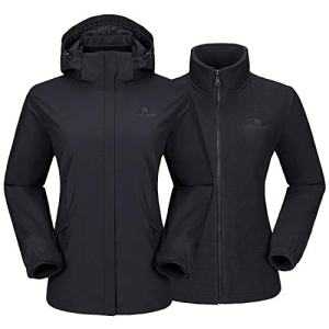 CAMEL CROWN Women's Ski Jacket Waterproof 3 in 1 Winter Jacket Windproof Hooded with Inner Warm Fleece Coat