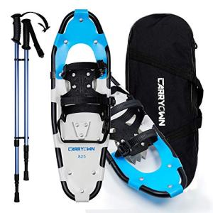 Carryown Lightweight Snowshoes Set for Adults Men Women Youth Kids, Light Weight Aluminum Alloy Terrain Snow Shoes with Trekking Poles and Carrying Tote Bag, 14/21/ 25/30 Inches