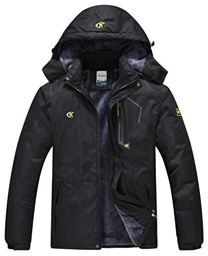 QPNGRP Mens Waterproof Fleece Ski Jacket Windproof Winter Snow Coat