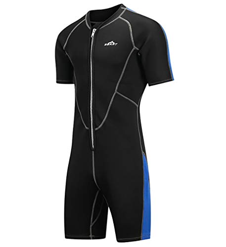 TYUE Men's Diving Suit, 2MM High Stretch Wetsuit Short Sleeve Front Zipper Breathable Quick Drying Adult Diving Surf Motorboat Summer Beach Windsurfing