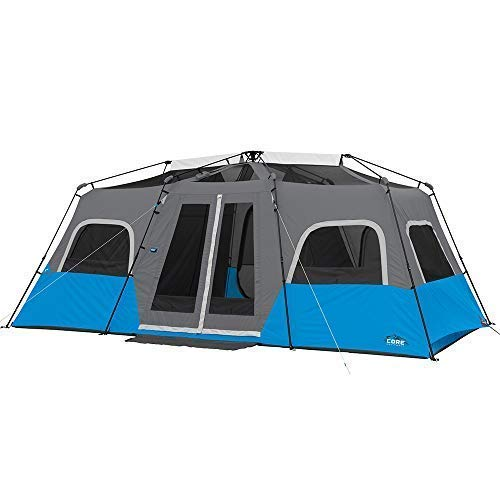 Core Lighted 12 Person Instant Cabin Tent - 18' x 10' BUILT-IN LED LIGHTING: A cutting-edge wall mount controls the three brightness settings. Press on the switch from the inside or outside of the tent. High: 950 Lumens, 50h Run Time; Medium: 300 Lumens, 110h Run Time; Night light: 35 Lumens, 250h Run Time. With a specially designed diffusion panel the light will be evenly dispersed throughout the tent. This eliminates the problem of point source lights with blinding glare. The diffusion makes it feel as if you're in the comfort of your own home.  INSTANT 2-MINUTE SETUP and COMFORTABLE: The poles are pre-attached to the tent- just unpack, unfold, lift legs into position and extend legs until they click into place. Remove the water repellent rainfly to expose the mesh ceiling for panoramic views for star gazing on clear summer nights. Also, the advanced venting system uses the adjustable air intake vent designed to draw in cool air from the ground while the mesh ceiling allows hot air to escape keeping you comfortable all season.