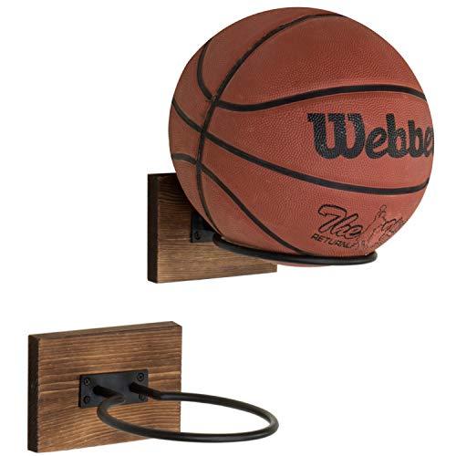 MyGift Wood & Metal Wall-Mounted Sports Ball Holder Storage, Set of 2