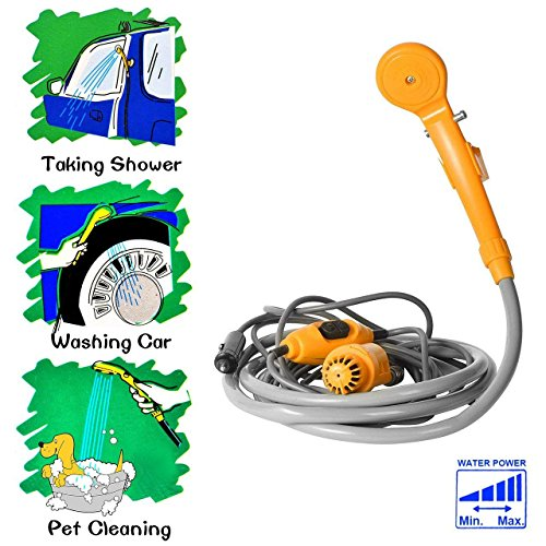 Portable Outdoor Handheld Camping Shower - Plug into 12v Cigarette Adapter PORTABLE CAMPING SHOWER-The unit consists of a powerful shower head on one end and a water pump on the other end with a S-hook, a suction cap, a 5M power cord and a 2M hose.  COMPACT FOR OUTDOOR OR INDOOR USE-Great for Hiking, Camping, BBQ, Travel, Summer Vacation,Kid Bathing, flowering plants, Doggy, Cat and other Pet's Cleaning etc.  EASY OPERATION-To have a great shower, all you need to do is just to put the camping shower pump into water and turn on the power, it will transforms water into comfortable shower stream.