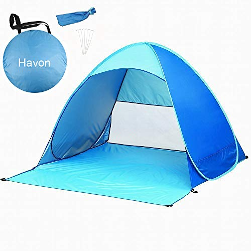 Havon Beach Tent Large Pop up Tent Camping Sun Shelter Anti UV Instant Beach Shade for 2-3 Person Blue