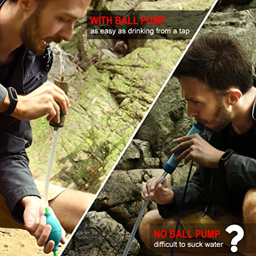 RUNACC Water Purifier Camping Straw Filtration System with Ball Pump Fast Drinking and Backflushing Design   - Made of the top quality membrane and medical-grade silicone, 100% body safe and durable, meets FDA standard and has passed TUV and SGS test, totally safe to use, also brings you worry-free using experience.