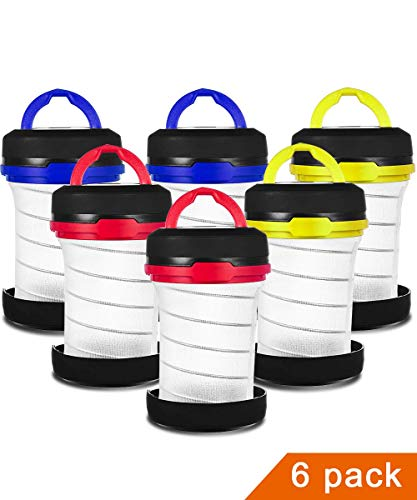 MISPO 6 Pack Portable Camping Lantern with LED Flashlights 2 in 1, 3-Lighting-Modes Survival Tool for Hiking, Camping, Emergency, Hurricane, Power Outage - Collapsible Mini Size - Battery Powered