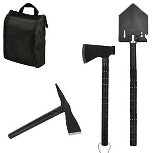 iunio Survival Off-Roading Tool Kit Folding Shovel Camping Axe Multitool Pickaxe with Carrying Bag for Outdoor Car Emergency