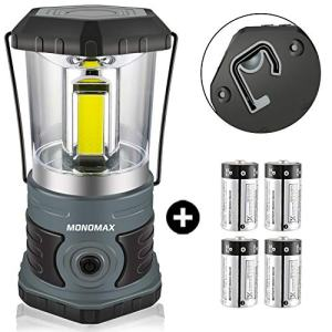 Monomax LED Camping Lantern 4D Batteries(Included) 1500 Lumen Brightness COB Camping Light Perfect for Hiking Camping Emergency Kit