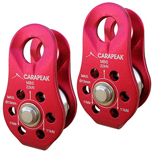 CARAPEAK 2 Pack Heavy Duty Small 22kN Climbing Pulley with Stainless Steel Ball Bearing for 1/4 to 1/2 inches Rope